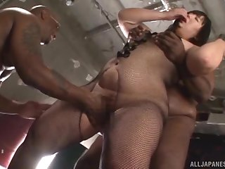 Chubby Asian MILF with glasses Yurino Hana gets two big black cocks
