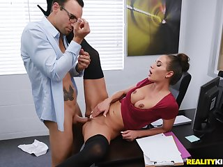 Sexy secretary Desiree Dulce enjoys sex with her colleague in her office