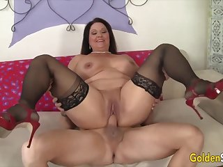 Hot and horny old woman Leylani Wood  bouncing on stiff and thick dicks in cowgirl