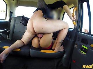 Hardcore public taxi fuck for secretive siren Masked Maya
