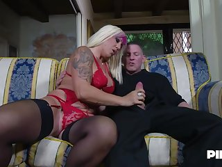 Christie Dom is moaning while two younger guys are fucking her brains out, at the same time