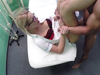 Slutty blonde nurse works her magic on a male patient in need