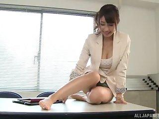 Fucking on the office table with sexy secretary Shunka Ayami