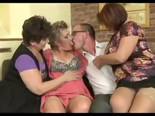 Three horny Grannies Vs Big-Dicked Youngster