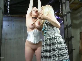 Ass spanking tits whipping lesbian femdom on cam