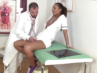 Naughty nurse Alexis Brill drops her panties to be fucked deep