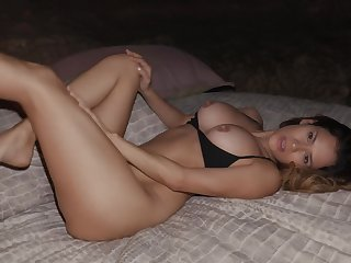 Nice lovemaking on the bed between Jenny Blighe and a sexy stranger