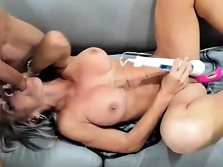 Fit horny MILF takes huge cock in her mouth and pussy live a