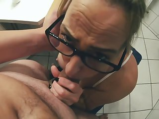 Stepson Sprinkles Horny Blonde MILF in the Face and Glasses - Horny Cum Swallows Swallow everything