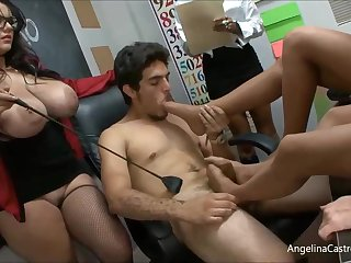 Angelina is a big titted teacher who likes to have casual orgies with her students