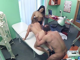 Sexy women fuck with their doctor while being secretly taped
