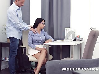 Kinky teacher fucks mouth anus and pussy of nerdy brunt student Chanel Lux